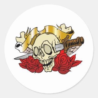 315 Tattoo Skull Classic Round Sticker