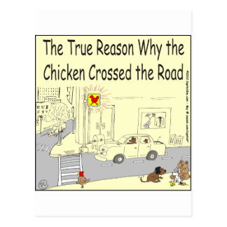 315 Why chicken crossed the road cartoon Postcard