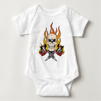 318 Flaming Skull Tattoo Baby Bodysuit