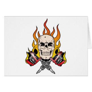 318 Flaming Skull Tattoo Card