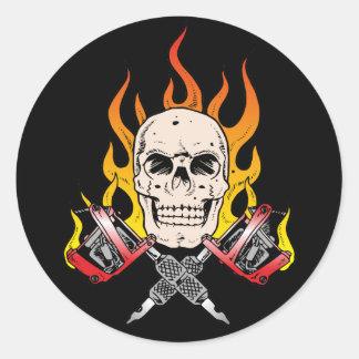 318 Flaming Skull Tattoo Classic Round Sticker