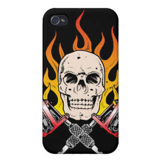 318 Flaming Skull Tattoo Cover For iPhone 4