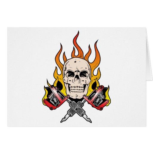 318 Flaming Skull Tattoo Greeting Cards