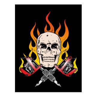 318 Flaming Skull Tattoo Postcard
