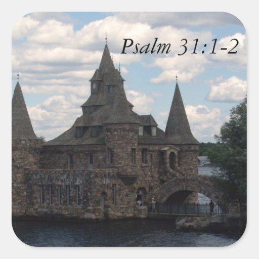 31:1 del salmo del castillo - 2 pegatinas cuadradases