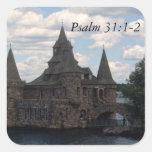 31:1 del salmo del castillo - 2 pegatina cuadrada