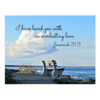 31:3 de Jeremiah le he amado con un eterno Tarjetas Postales