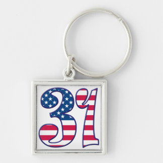 31 Age USA Silver-Colored Square Keychain