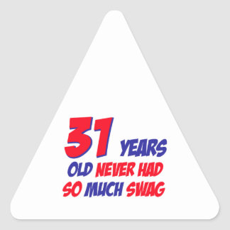31 años del diseño del cumpleaños pegatina triangular