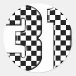 31 auto racing number round sticker