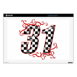 """31 auto racing number skins for 17"""" laptops"""