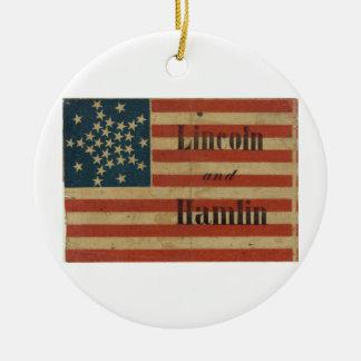 31 estrella Lincoln 1860 y bandera americana de Ha Ornamento Para Arbol De Navidad