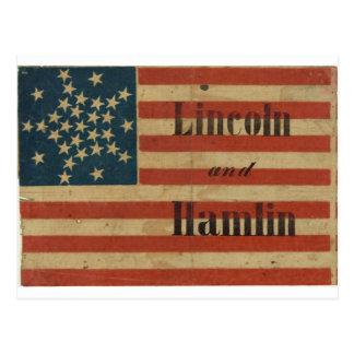 31 estrella Lincoln 1860 y bandera americana de Tarjetas Postales