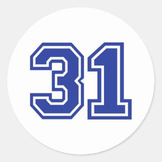 31 - number classic round sticker