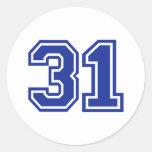 31 - número pegatina redonda