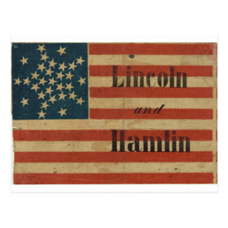 31 Star 1860 Lincoln and Hamlin American Flag Postcard