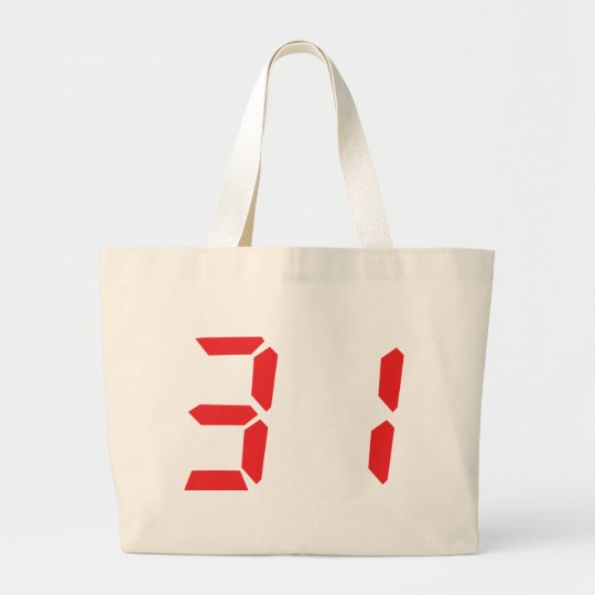 31 thirty-one red alarm clock digital number large tote bag