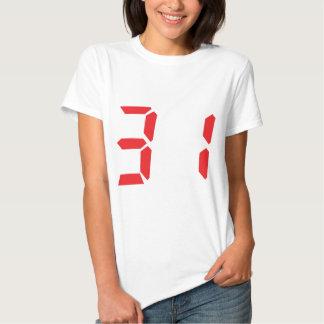 31 treinta y uno números digitales del despertador camisas