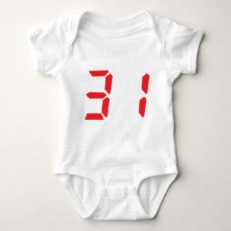 31 treinta y uno números digitales del despertador mameluco de bebé