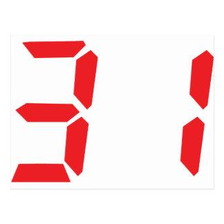 31 treinta y uno números digitales del despertador postales