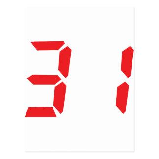 31 treinta y uno números digitales del despertador tarjeta postal