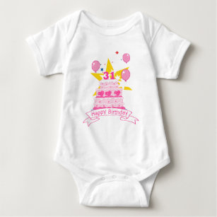 31 Year Old Birthday Cake Baby Bodysuit