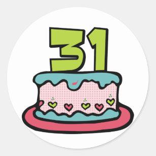 31 Year Old Birthday Cake Classic Round Sticker