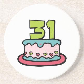 31 Year Old Birthday Cake Drink Coaster