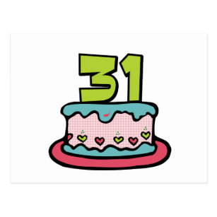 31 Year Old Birthday Cake Postcard