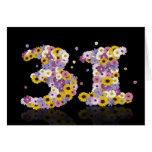 31ro tarjeta de cumpleaños con las letras floridas