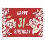31ro tarjeta de felicitación del cumpleaños