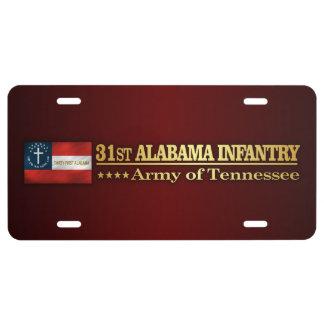 31st Alabama Infantry (BA2) License Plate