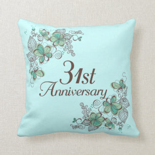 31st Anniversary Gift Throw Pillow & 31st Wedding Anniversary Gifts | Zazzle