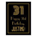 "[ Thumbnail: 31st Birthday: Art Deco Inspired Look ""31"" + Name Card ]"