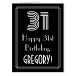 "[ Thumbnail: 31st Birthday — Art Deco Inspired Look ""31"" + Name Card ]"