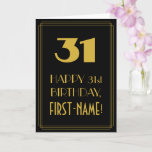 "[ Thumbnail: 31st Birthday ~ Art Deco Inspired Look ""31"" & Name Card ]"