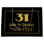"[ Thumbnail: 31st Birthday — Art Deco Inspired Look ""31"" & Name Gift Bag ]"