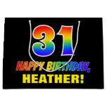[ Thumbnail: 31st Birthday: Bold, Fun, Simple, Rainbow 31 Gift Bag ]