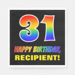 [ Thumbnail: 31st Birthday: Bold, Fun, Simple, Rainbow 31 Napkins ]