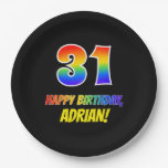 [ Thumbnail: 31st Birthday: Bold, Fun, Simple, Rainbow 31 Paper Plate ]