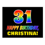 [ Thumbnail: 31st Birthday: Bold, Fun, Simple, Rainbow 31 Postcard ]