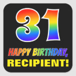 [ Thumbnail: 31st Birthday: Bold, Fun, Simple, Rainbow 31 Sticker ]