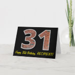 "[ Thumbnail: 31st Birthday - Brick Wall Pattern ""31"" W/ Name Card ]"