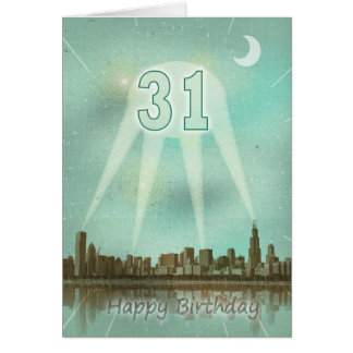 31st Birthday card with a city and spotlights