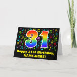 [ Thumbnail: 31st Birthday: Colorful Music Symbols & Rainbow 31 Card ]