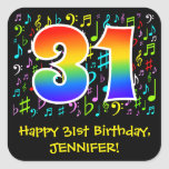 [ Thumbnail: 31st Birthday: Colorful Music Symbols, Rainbow 31 Sticker ]