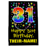 [ Thumbnail: 31st Birthday: Colorful Stars Pattern & Rainbow 31 Gift Bag ]