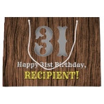 [ Thumbnail: 31st Birthday: Country Western Inspired Look, Name Gift Bag ]