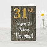 [ Thumbnail: 31st Birthday: Elegant Faux Gold Look #, Faux Wood Card ]