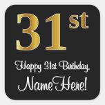 [ Thumbnail: 31st Birthday – Elegant Luxurious Faux Gold Look # Sticker ]